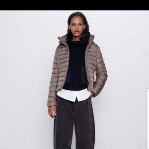 ZARA Lightweight Puffer Jacket Mink
